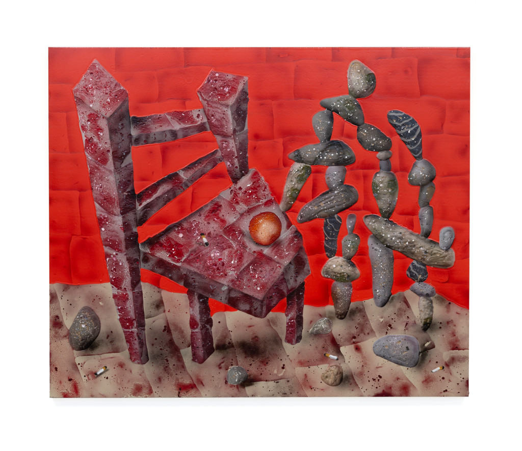 "Brick Chair with Rocks, 44"" x 55"", Acrylic, oil, spray paint on panel, 2018"