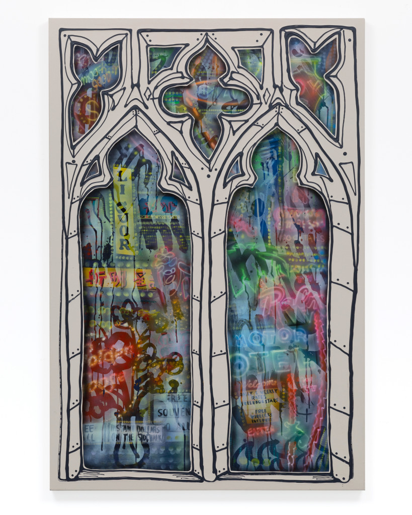 "Stained Glass, 40"" x 60"", Acrylic and spray paint on canvas over birch panel. 2020"