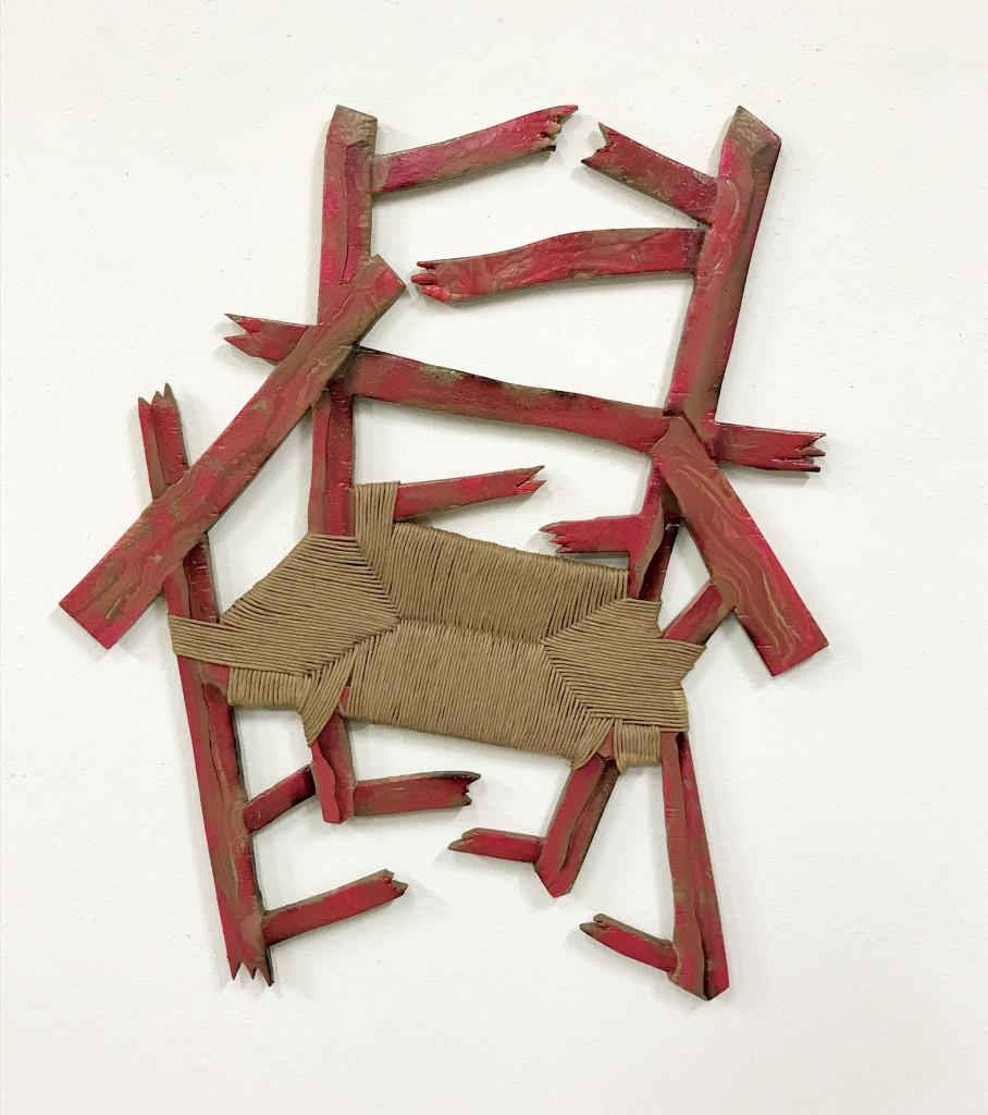 """Broken Chair,  40"""" x 31"""" Acrylic, Wood, Oil, Spray paint, 2017"""