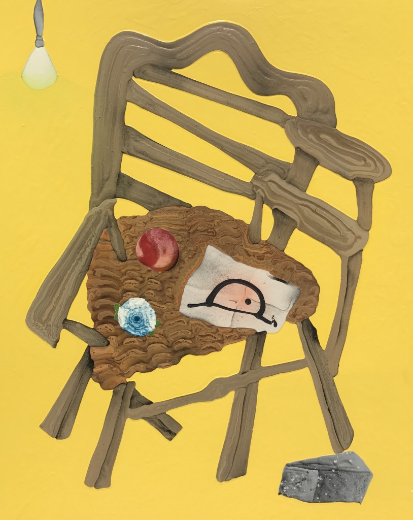 "Chair with Peach, 36"" x 44"", 2017"