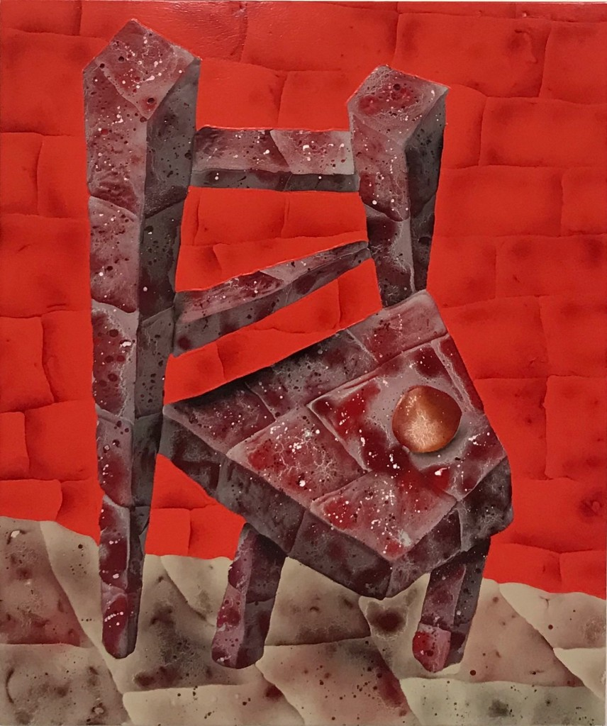 "Brick Chair with Peach, 35"" x 42"", Acrylic, oil, spray paint on panel"