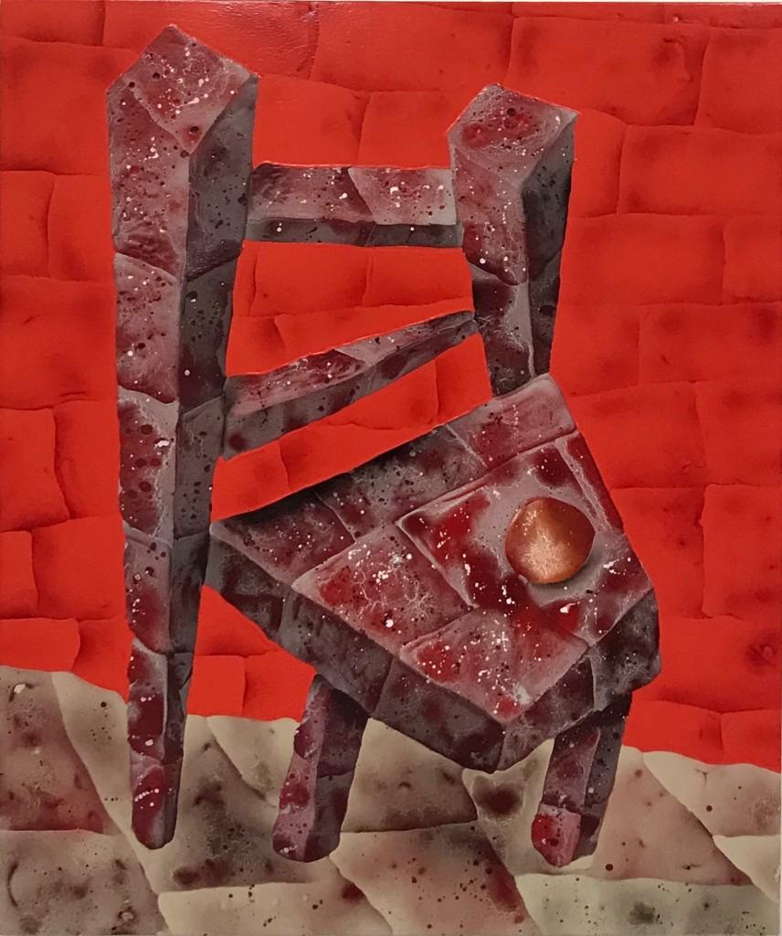 """Brick Chair with Peach, 35"""" x 42"""", Acrylic, oil, spray paint on panel"""