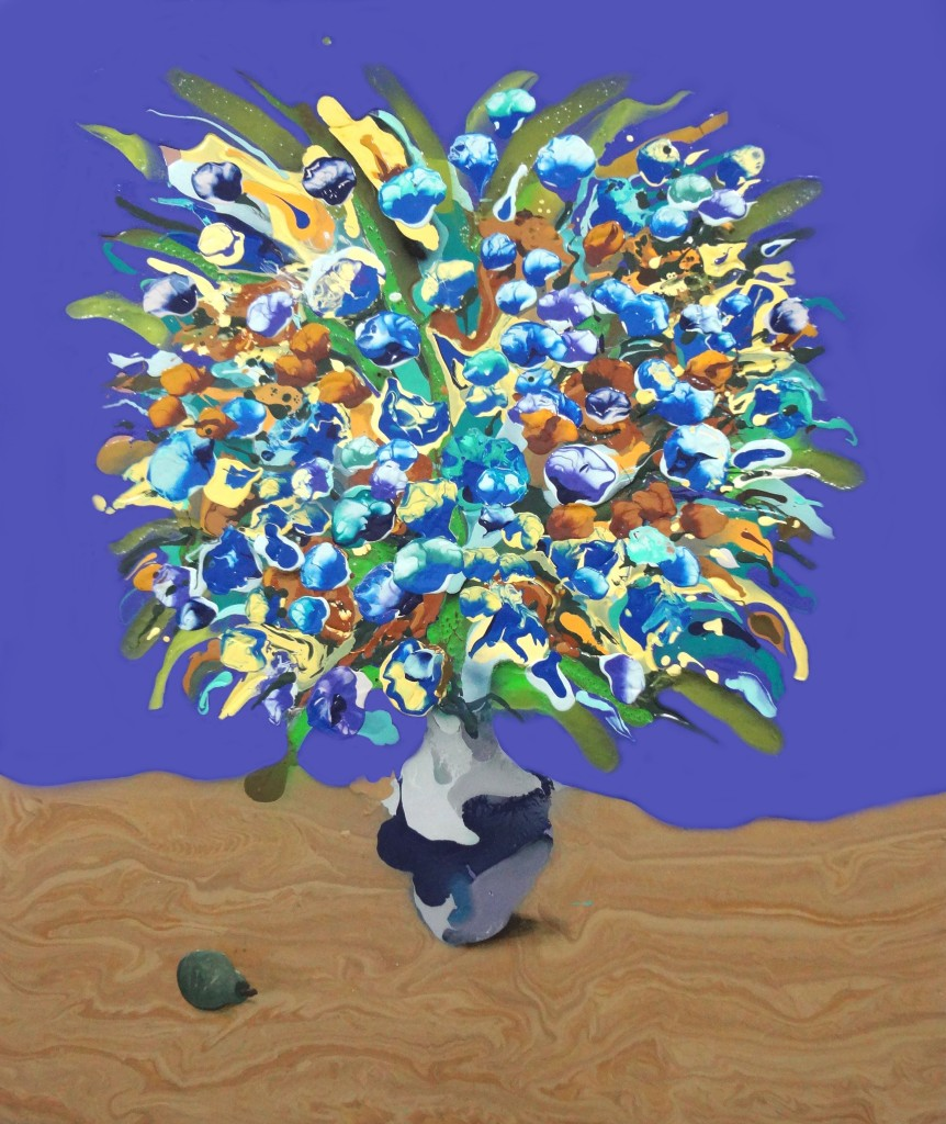 "Blue Bouquet with Pear- 38"" x 44""- Acrylic, oil, spray paint on panel. 2014"