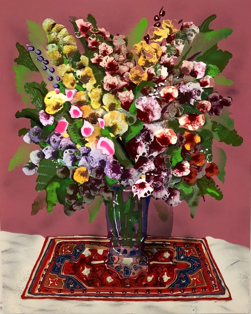 """Bouquet with Dark Rose Background, 43"""" x 57"""" 2018"""
