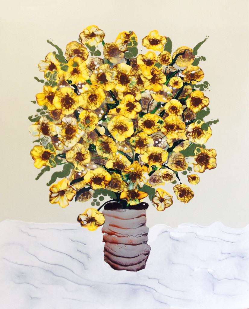 "Sunflowers in Rusted Can- 37"" x 44"", Acrylic, oil, spray paint on panel. 2015"