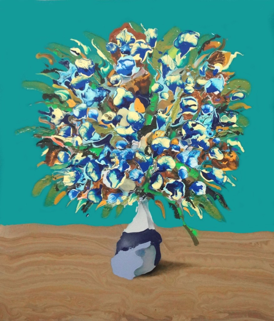 "Teal Bouquet- 38"" x 44""- Acrylic, oil, spray paint on panel. 2014"