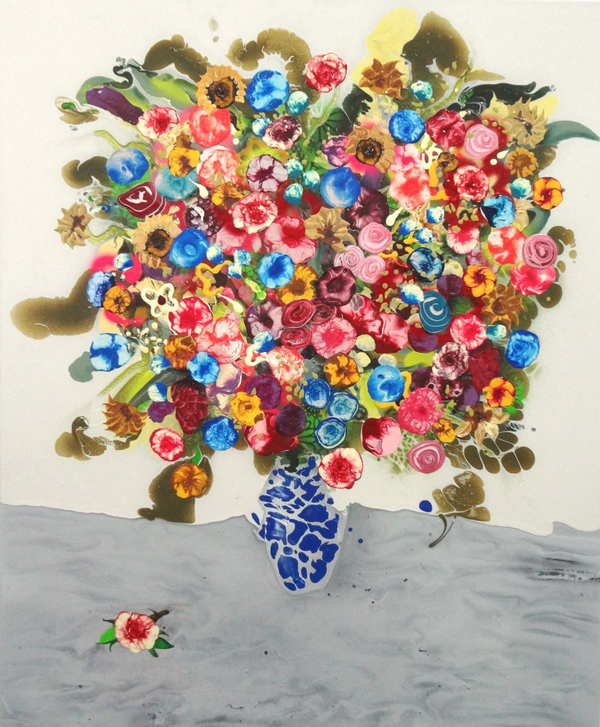 "Bouquet with Marble- 45"" x 60"", Acrylic, oil, spray paint on panel. 2014- Sold"