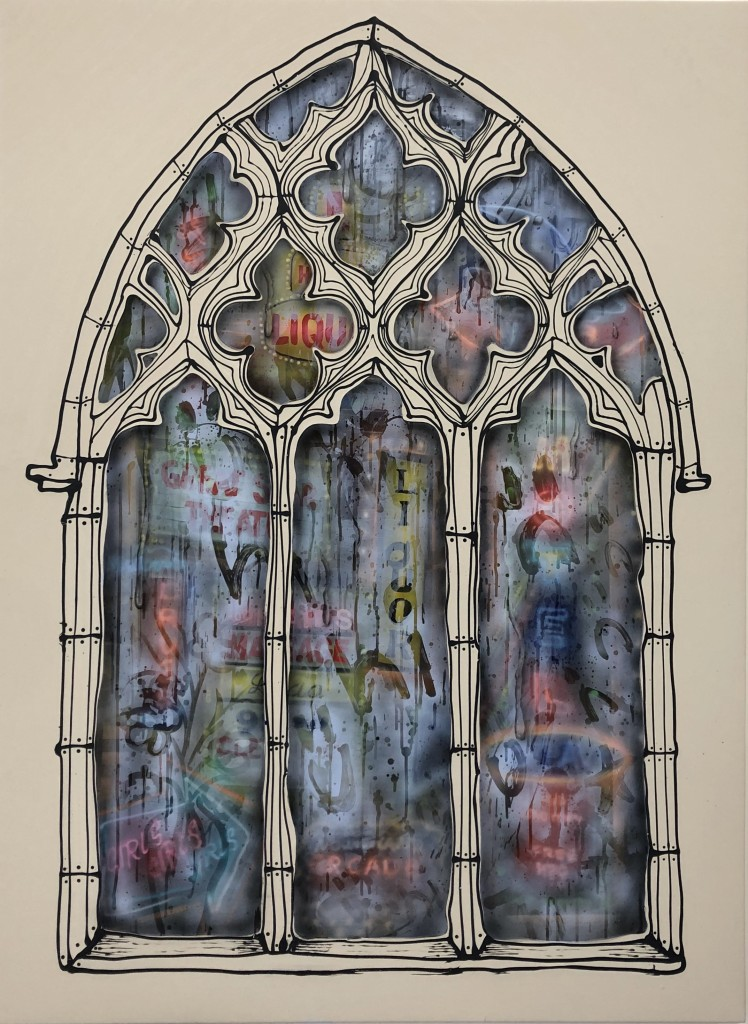 "Cathedral Window, 50"" x 60"", Acrylic, oil, spray paint on panel. 2020"
