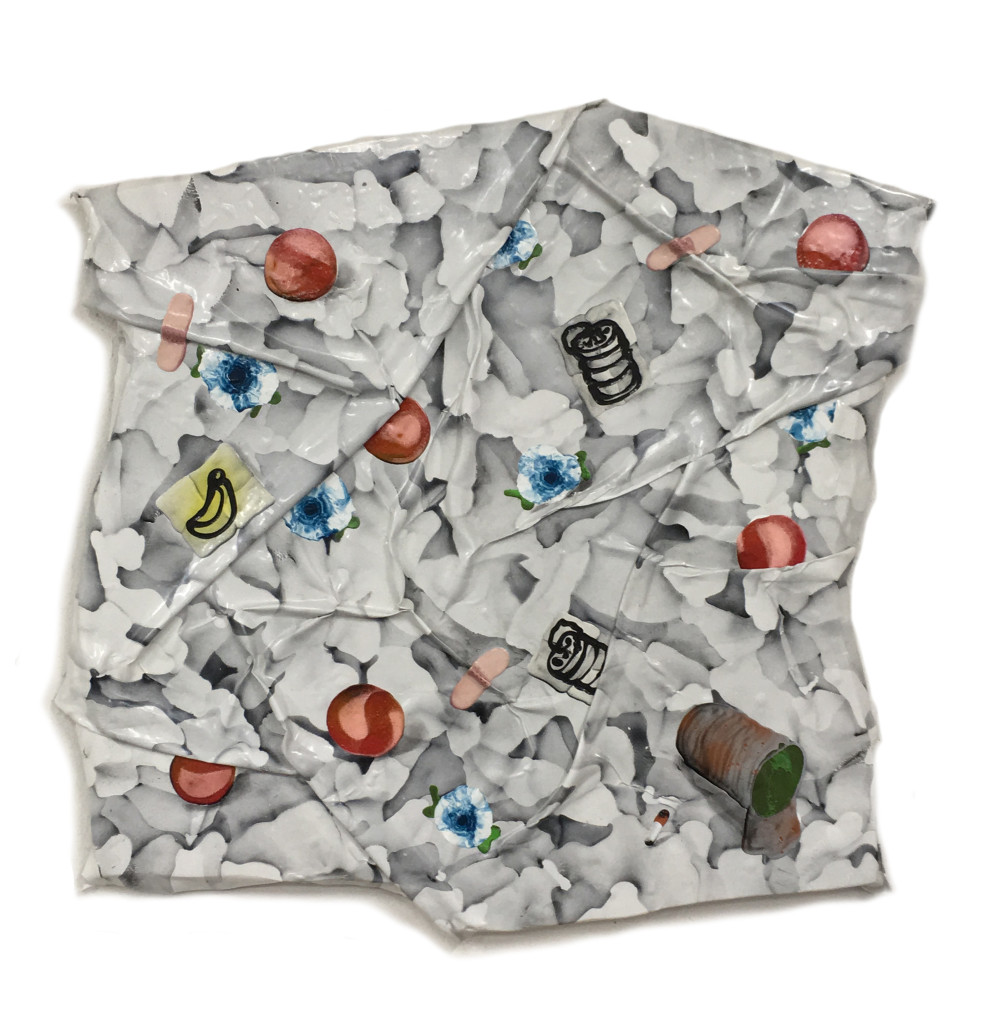 Posey, white folds with blue flowers and peaches